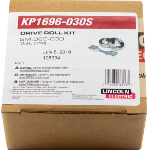 023 030S lincoln electric aluminum drive 2 roll kit power mig box packaging label